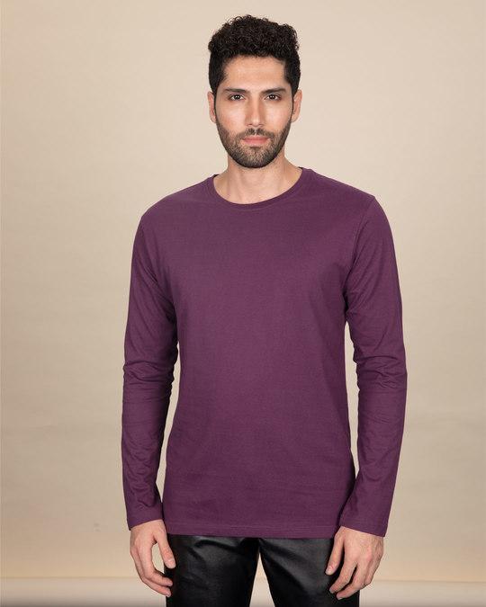 Shop Deep Purple Full Sleeve T-Shirt-Front