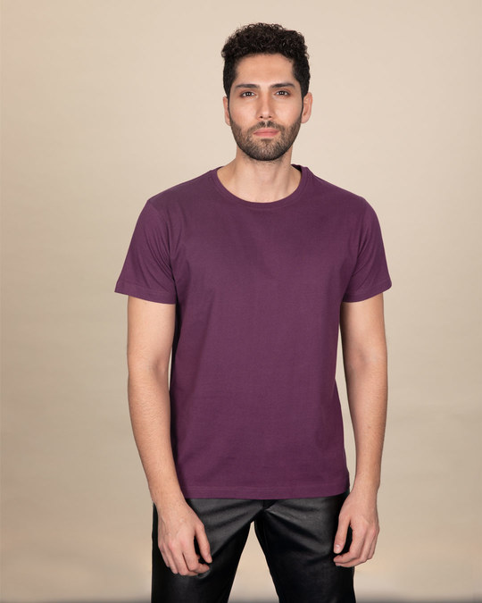 Shop Deep Purple Half Sleeve T-Shirt-Back