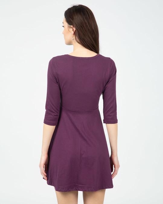Shop Deep Purple Plain Flared Dress-Back