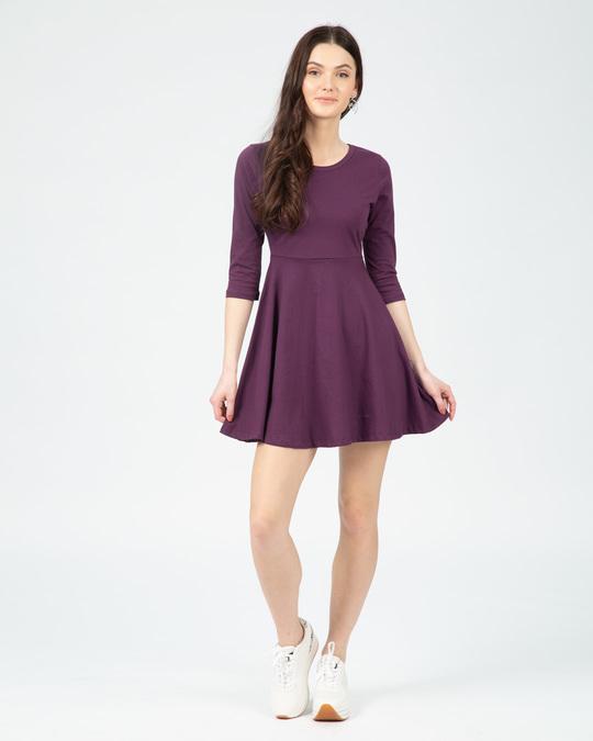 Shop Deep Purple Plain Flared Dress-Design
