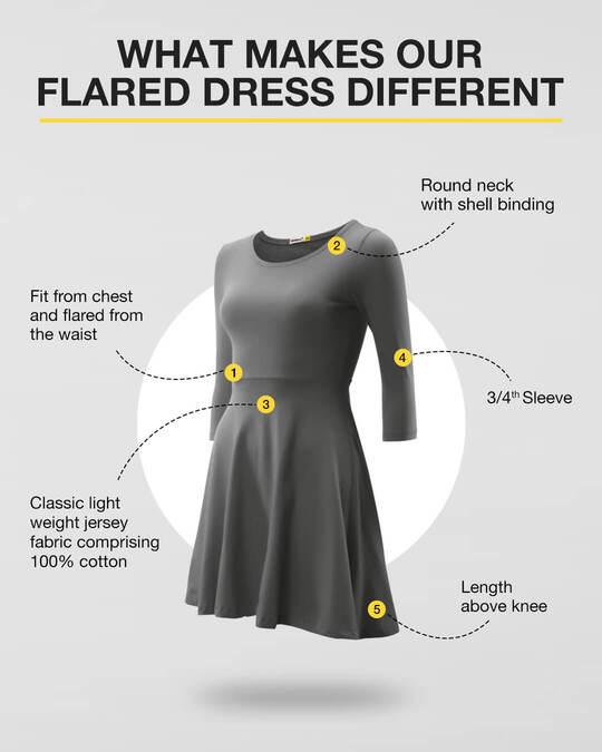 Shop Deep Purple Plain Flared Dress