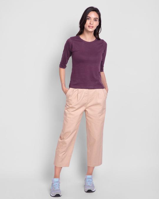 Shop Deep Purple Round Neck 3/4th Sleeve T-Shirt