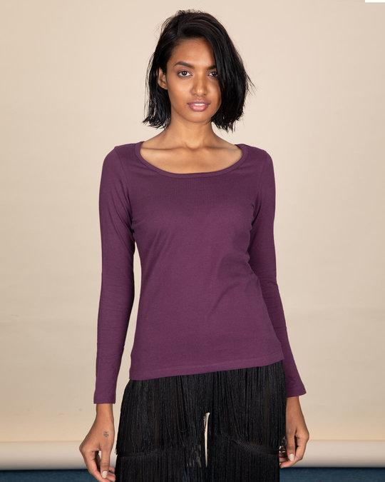 Shop Deep Purple Scoop Neck Full Sleeve T-Shirt-Back