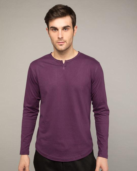 Shop Deep Purple Slit Neck Full Sleeve Henley T-shirt-Front