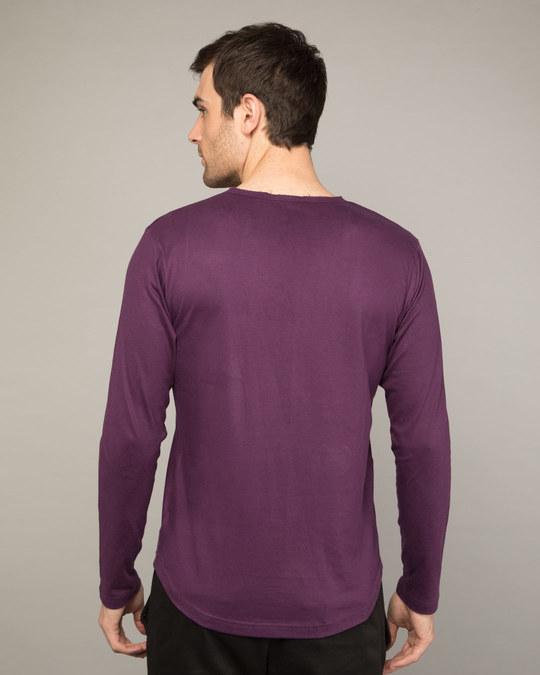 Shop Deep Purple Slit Neck Full Sleeve Henley T-shirt-Design