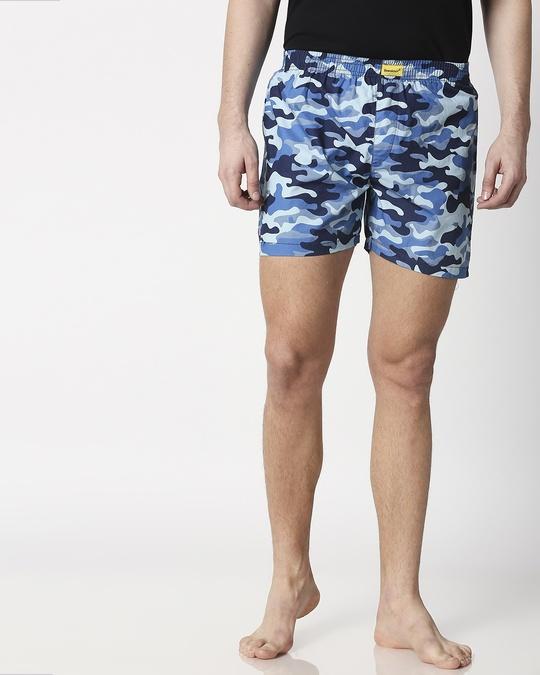 Shop Deep Sea Camo Men's Printed Boxers-Front
