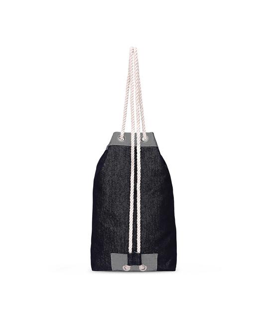 Shop Denim Drawstring Bag-Front