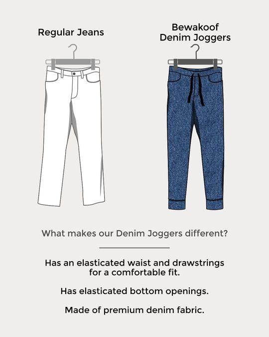 Shop Light Blue Knitted Denim Joggers-Design