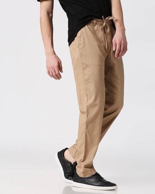 Shop Desert Beige Casual Cotton Pants-Design