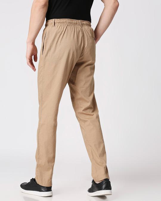 Shop Desert Beige Casual Cotton Trouser-Full