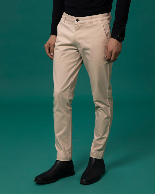 Shop Desert Sand Beige Slim Fit Cotton Chino Pants-Full