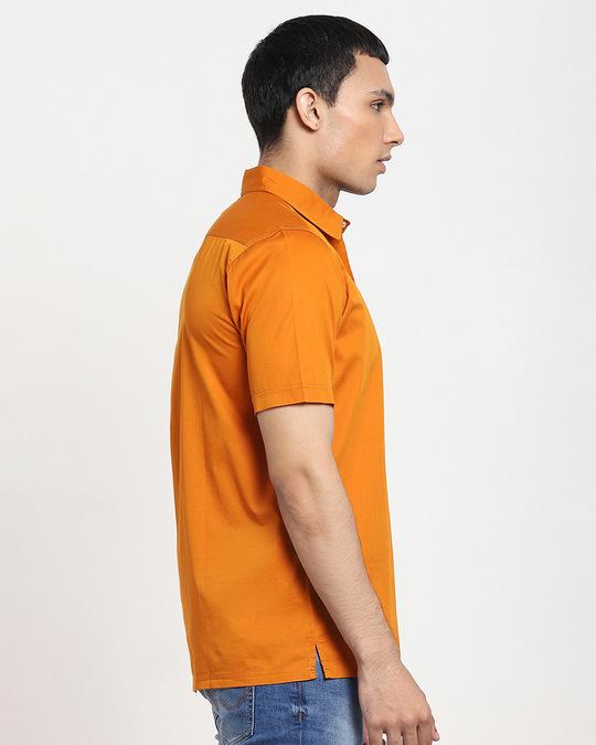 Shop Desert Sun Half Sleeve Solid Shirt-Back