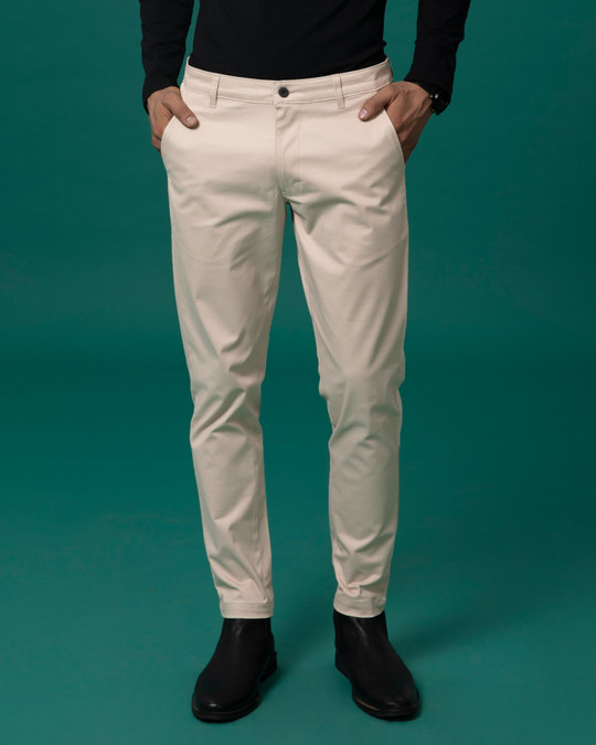 Shop Dessert Sand Beige Slim Fit Cotton Chino Pants-Design