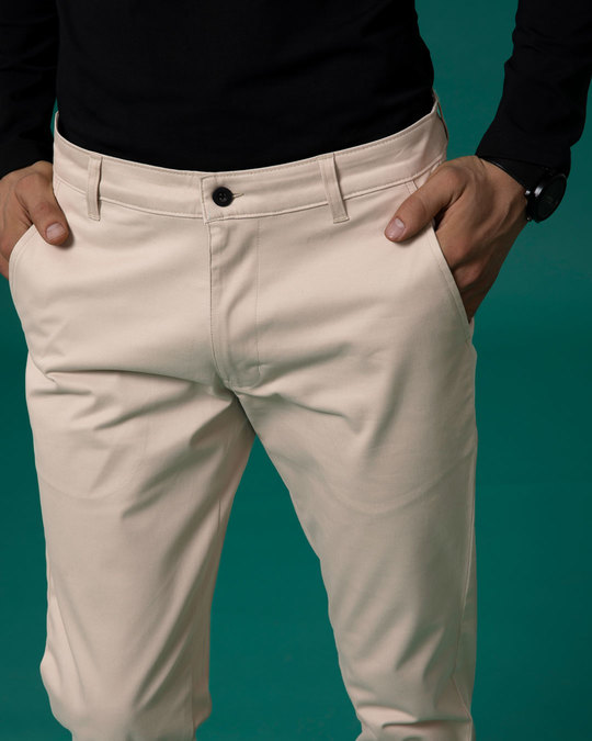 Shop Dessert Sand Beige Slim Fit Cotton Chino Pants