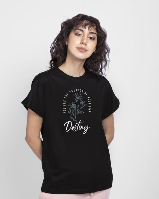 Shop Destiny Flowers Boyfriend T-Shirt Black-Front