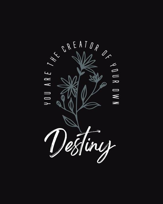 Shop Destiny Flowers Half Sleeve T-Shirt Black-Full
