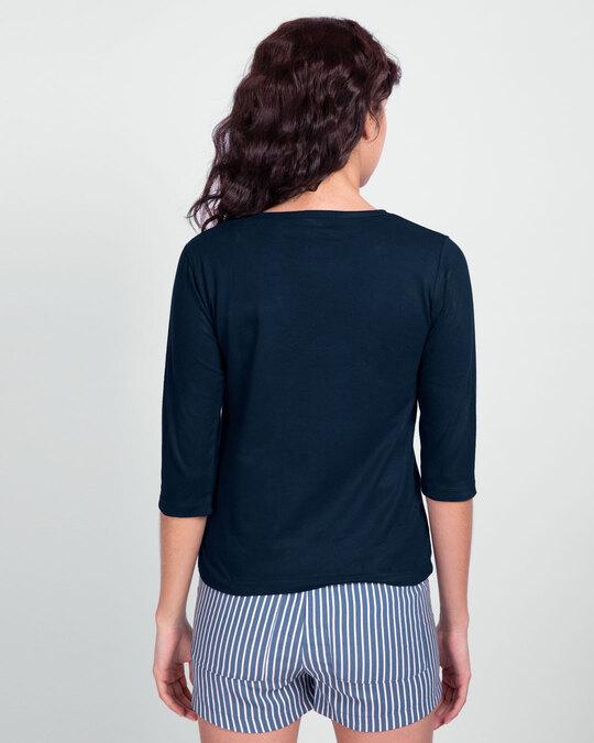 Shop Destiny Flowers Round Neck 3/4th Sleeve T-Shirt Navy Blue-Design