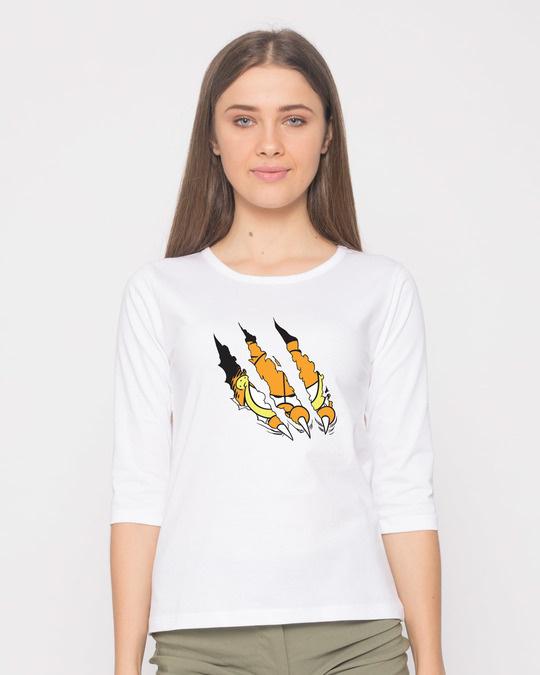 Shop Devil Smirk Round Neck 3/4th Sleeve T-Shirt (GL)-Front
