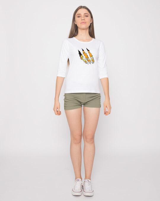 Shop Devil Smirk Round Neck 3/4th Sleeve T-Shirt (GL)