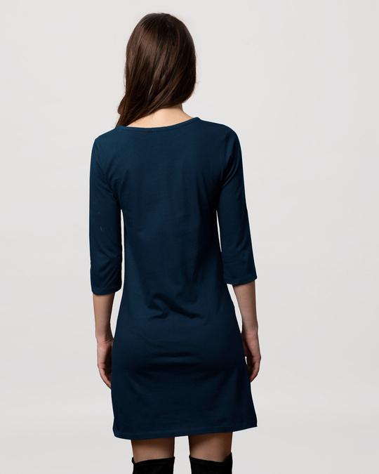Shop Diagonal Friends Boat Neck 3/4th Sleeve Printed T-Shirt Dress (FRL)-Back
