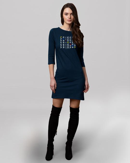 Shop Diagonal Friends Boat Neck 3/4th Sleeve Printed T-Shirt Dress (FRL)-Full