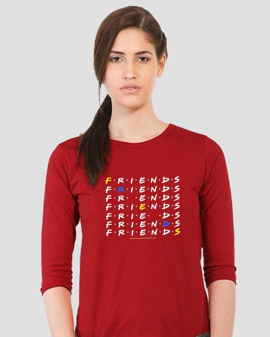 Shop Diagonal Friends Round Neck 3/4 Sleeve T-Shirts (FRL)-Back