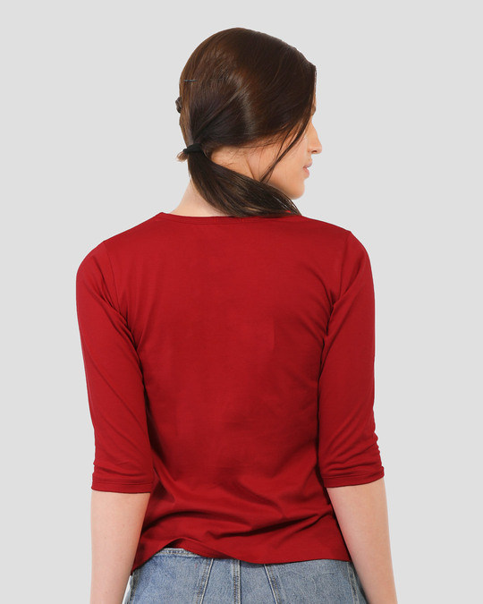 Shop Diet Kick Jerry Round Neck 3/4 Sleeve T-Shirts (TJL) Bold Red-Back