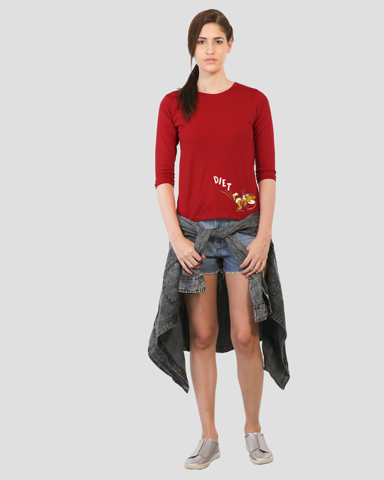 Shop Diet Kick Jerry Round Neck 3/4 Sleeve T-Shirts (TJL) Bold Red-Full
