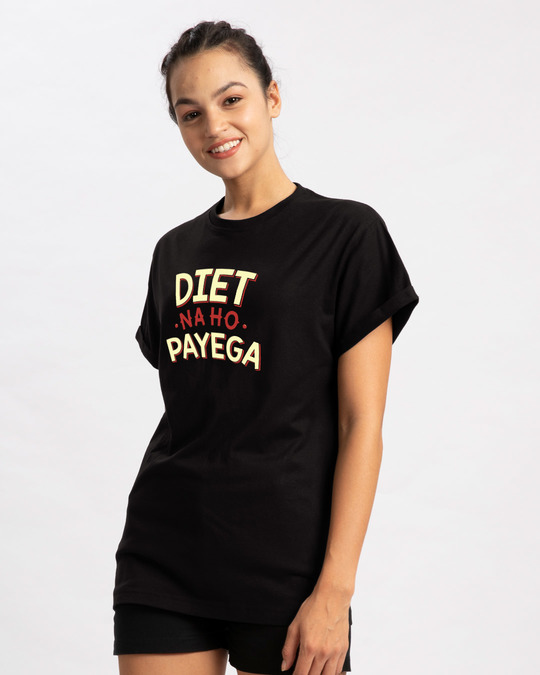 Shop Diet Na Ho Payega Boyfriend T-Shirt-Back