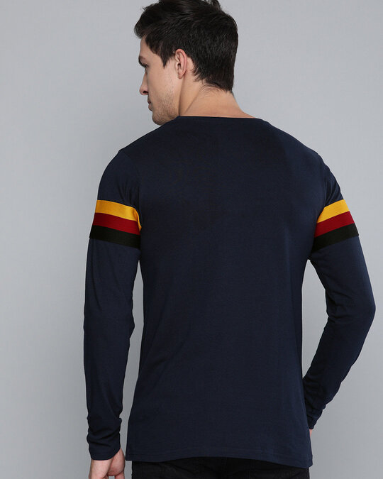 Shop Blue Solid Full Sleeves T-Shirt-Full