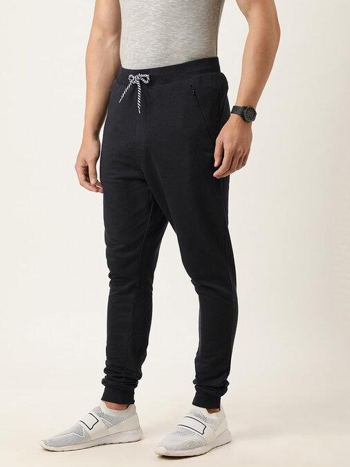 Shop Men's Black Solid Joggers-Back