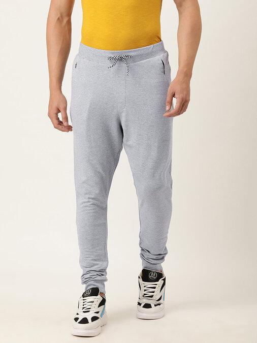 Shop Men's Grey Solid Joggers-Front