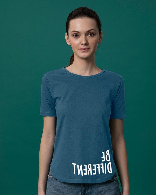 Shop Different Mirror Basic Round Hem T-Shirt-Front