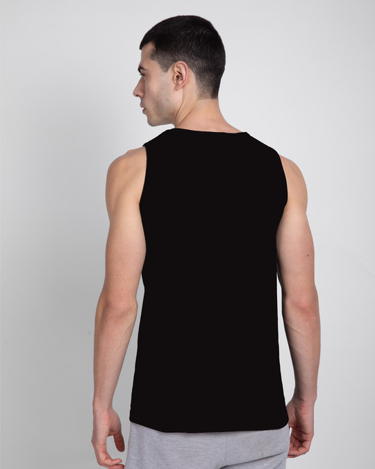 Shop Different Perspective Round Neck Vest Black-Back