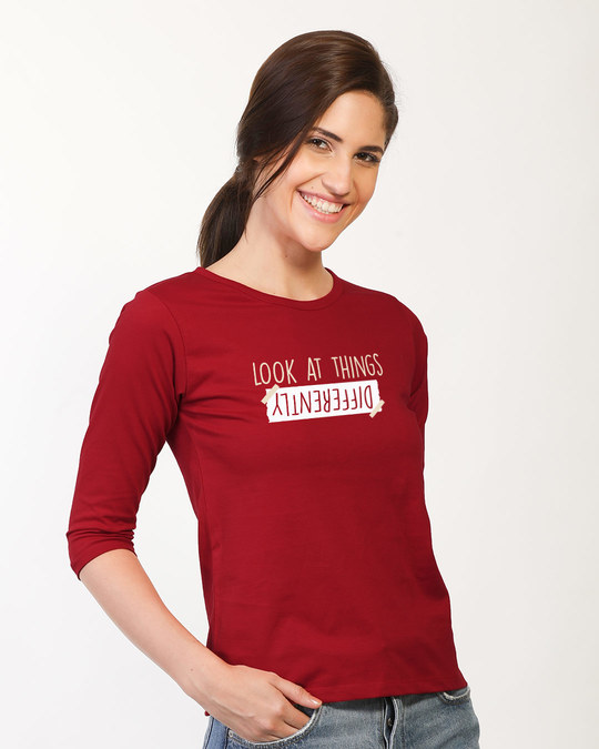 Shop Differently Round Neck 3/4th Sleeve T-Shirt-Back