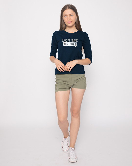 Shop Differently Round Neck 3/4th Sleeve T-Shirt