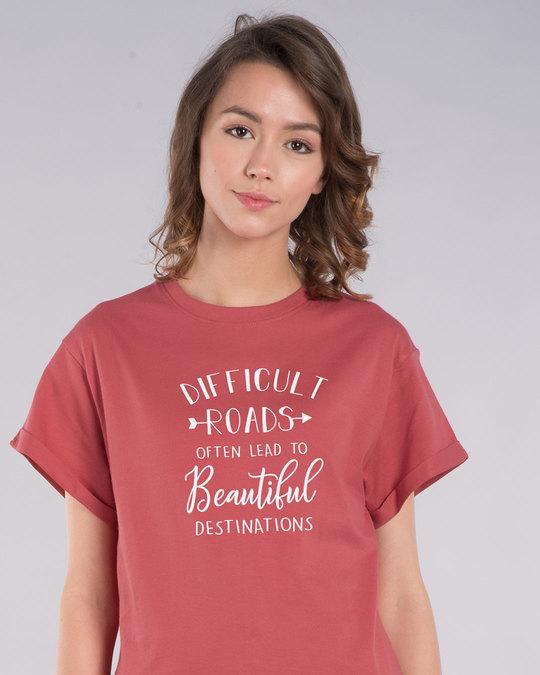 Shop Difficult Roads Boyfriend T-Shirt-Front