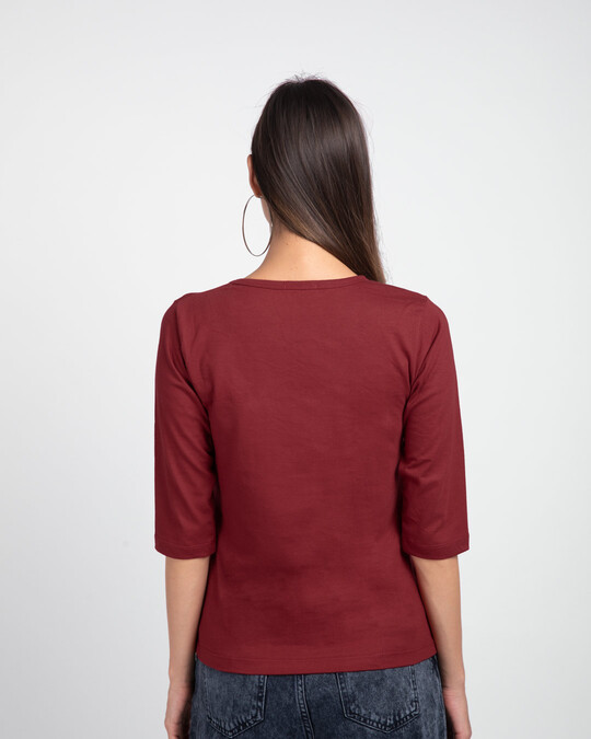 Shop Difficult Roads Round Neck 3/4 Sleeve T-Shirts Scarlet Red -Back