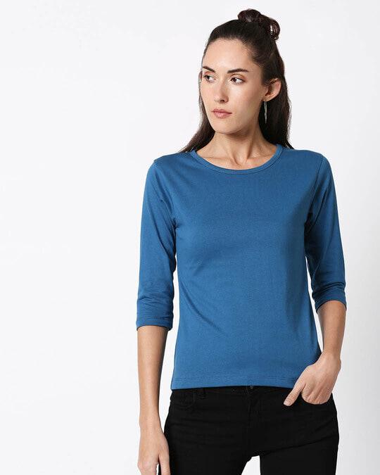 Shop Digi Teal 3/4 Sleeve T-Shirt-Back