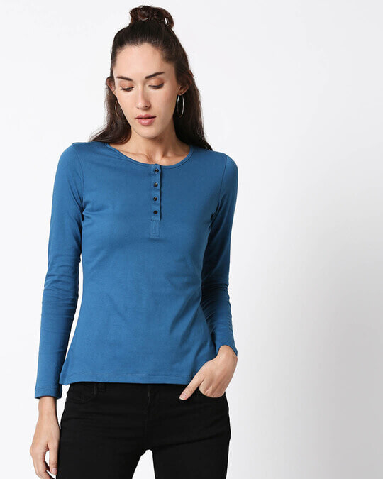 Shop Digi Teal Henley T-Shirt-Back