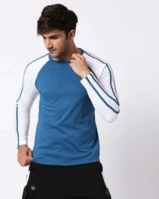 Shop Digi Teal Raglan Full Sleeve T-Shirt-Back
