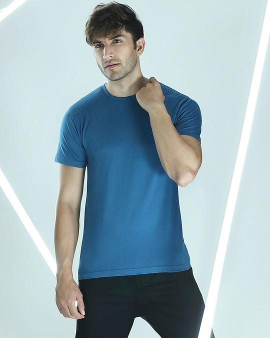 Shop Digi Teal Half Sleeve T-Shirt-Front