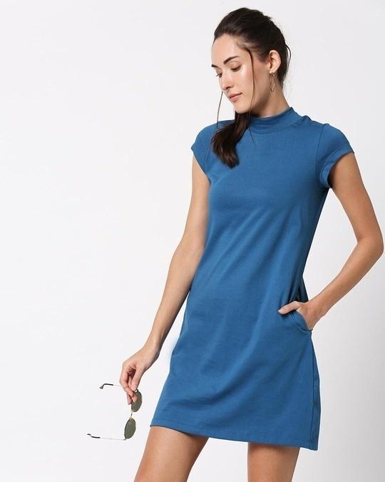 Shop Digi Teal High Neck Pocket Dress-Back