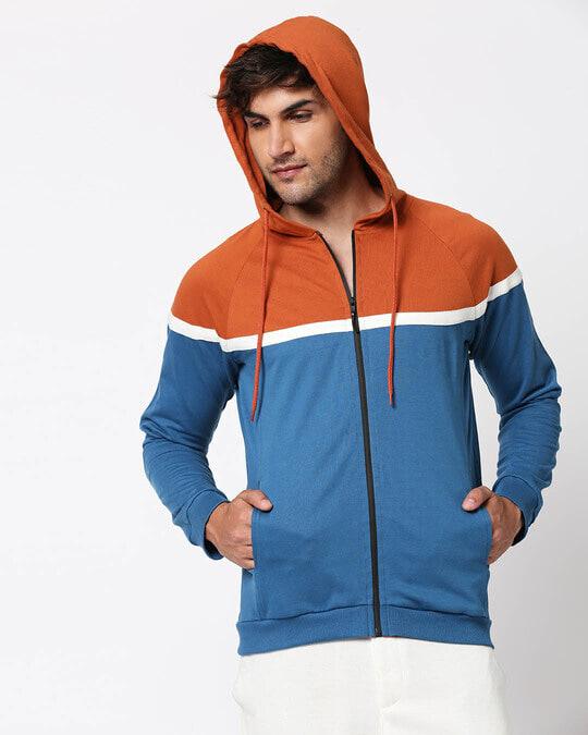 Shop Digi Teal Color Block Zipper Hoodie-Design