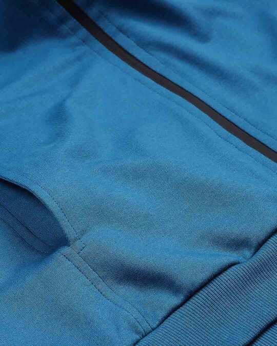 Shop Digi Teal Color Block Zipper Hoodie