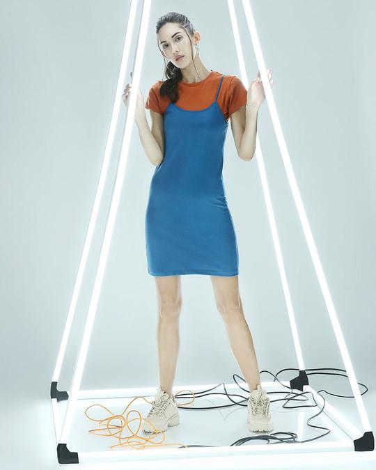 Shop Digital Teal Women's Slip Dress-Front