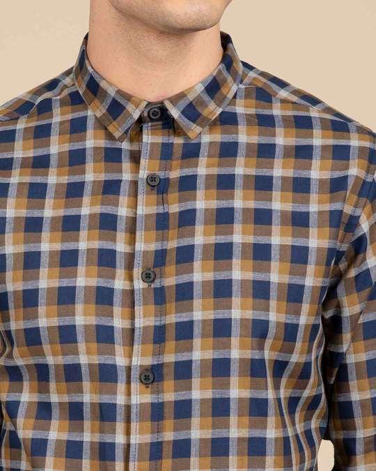 Shop Dijon Blue Checked Shirt