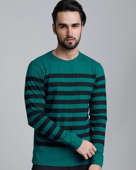 Shop Green Stripes T Shirt-Front