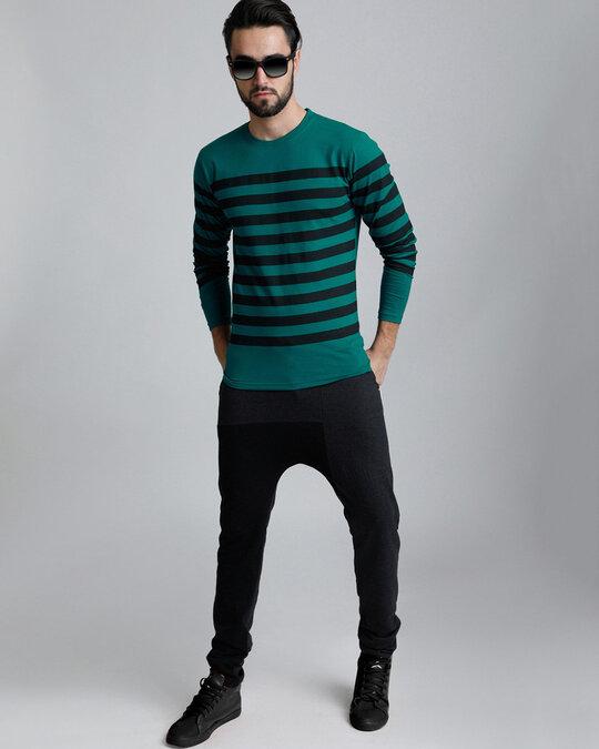 Shop Green Stripes T Shirt