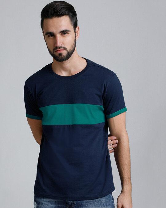 Shop Navy Colour Block T Shirt-Front